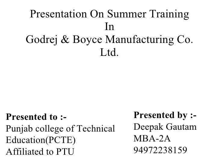 Presentation on summer training
