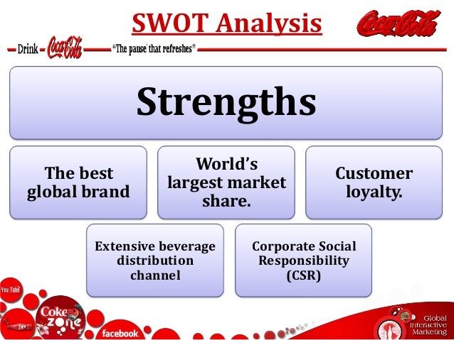 evaluation of coca cola strategies swot analysis Porter's five forces pestel analysis swot analysis value chain analysis   then, extensive analysis of images and words used in coca-cola campaign is   hand, operates under the pull strategy and directs its marketing efforts and   when evaluated from the criteria of customer loyalty coca-cola.