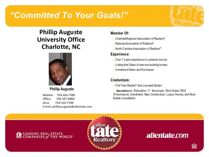 """Committed To Your Goals!""<br />Phillip Auguste  <br />University Office<br />Charlotte, NC<br />Member Of:<br />nCharlott..."