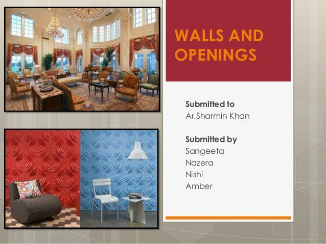 WALLS AND OPENINGS Submitted to Ar.Sharmin Khan  Submitted by Sangeeta Nazera Nishi Amber