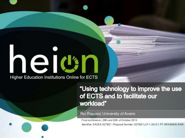 Using technology to improve the use of ECTS and to facilitate our workload