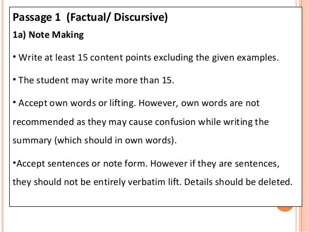 How to write a factual summary?