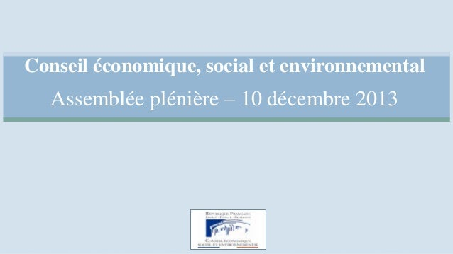 Conseil économique, social et environnemental  Assemblée plénière – 10 décembre 2013