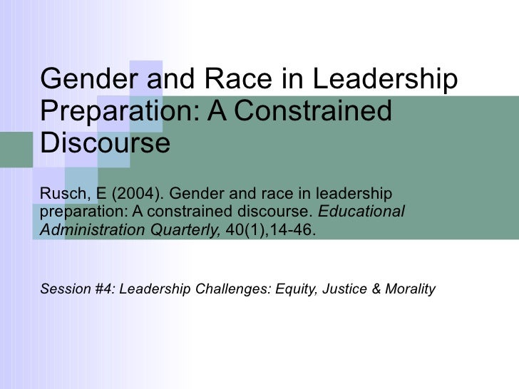 Gender and Race in Leadership Preparation: A Constrained Discourse