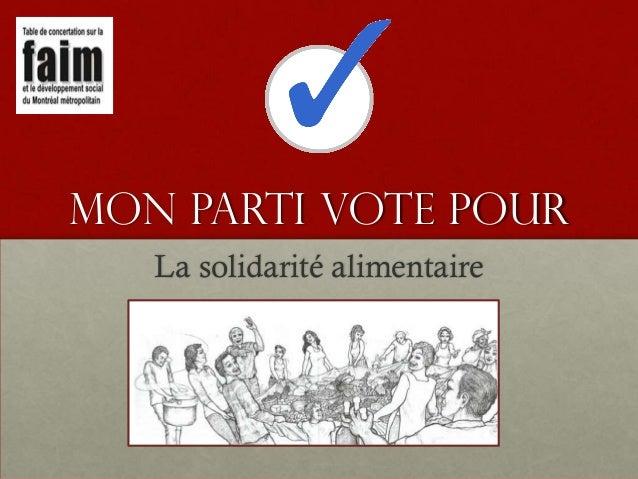 Mon parti vote pour La solidarité alimentaire