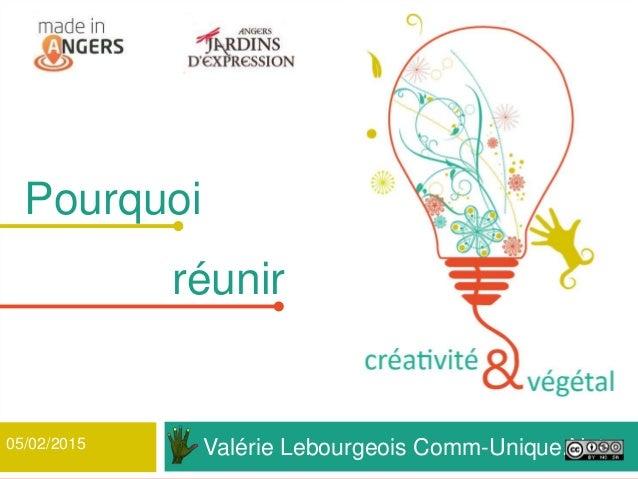 Valérie Lebourgeois Comm-Unique.Net 1 Pourquoi réunir 05/02/2015