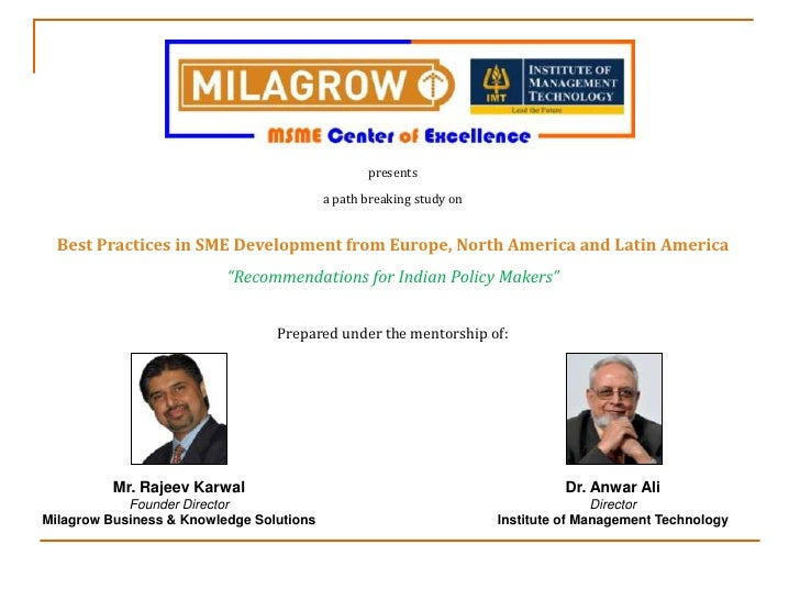 Milagrow IMT Study: Practices for SME Development from EU, North America and Latin America and Recommendations