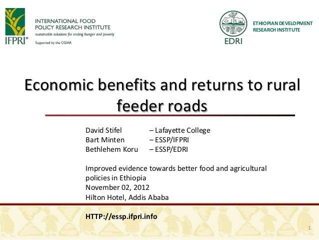 ETHIOPIAN DEVELOPMENT                                                         RESEARCH INSTITUTEEconomic benefits and retu...