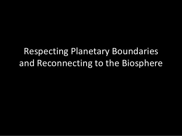 Respecting Planetary Boundaries and Reconnecting to the Biosphere