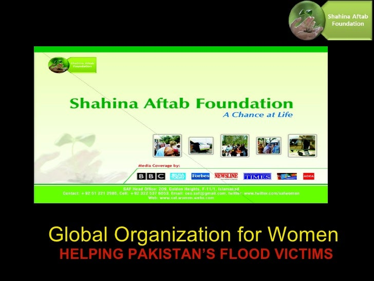 Global Organization for Women   HELPING PAKISTAN'S FLOOD VICTIMS