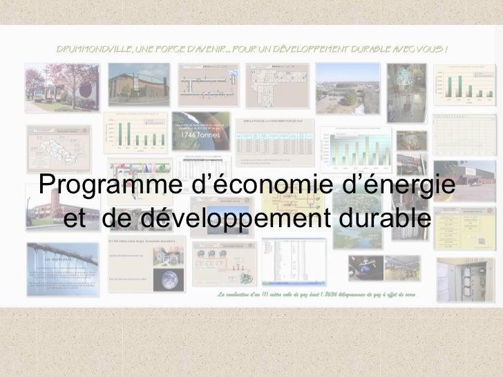 Programme d'économie d'énergie  et de développement durable