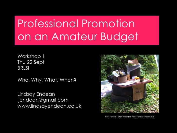 Professional Promotion on an Amateur Budget Workshop 1 Thu 22 Sept BRLSI Who, Why, What, When? Lindsay Endean [email_addre...