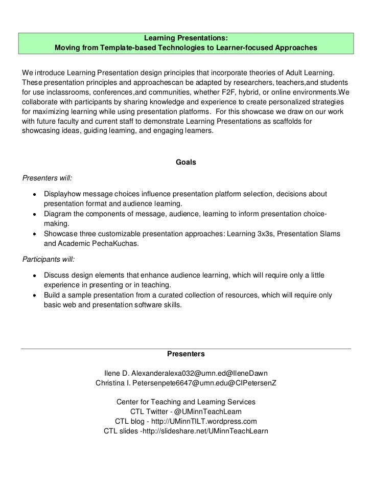 Learning Presentations:           Moving from Template-based Technologies to Learner-focused ApproachesWe introduce Learni...