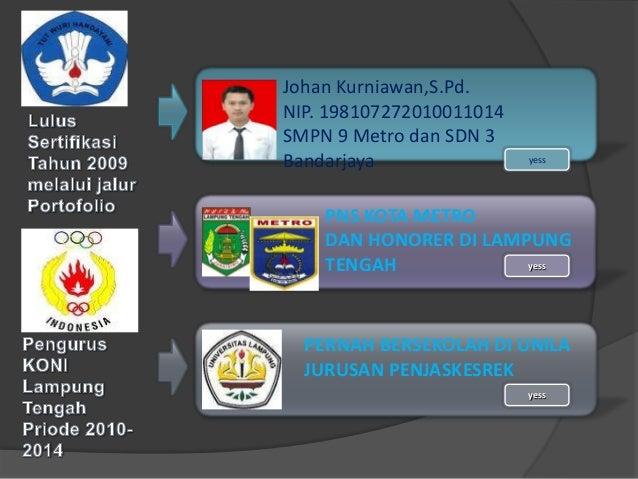 Johan Kurniawan,S.Pd. NIP. 198107272010011014 SMPN 9 Metro dan SDN 3 Bandarjaya PERNAH BERSEKOLAH DI UNILA JURUSAN PENJASK...