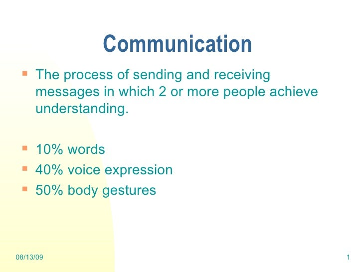 Communication <ul><li>The process of sending and receiving messages in which 2 or more people achieve understanding. </li>...