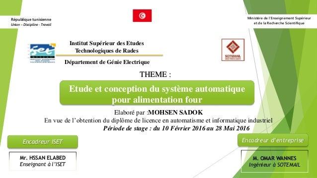 Ministère de l'Enseignement Supérieur et de la Recherche Scientifique République tunisienne Union – Discipline - Travail E...