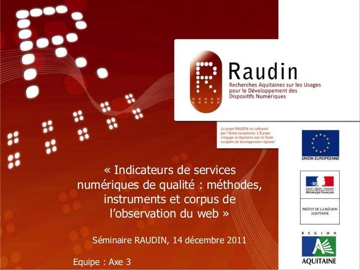 Programme de Recherche                            RAUDIN               « Indicateurs de services                    « TITR...