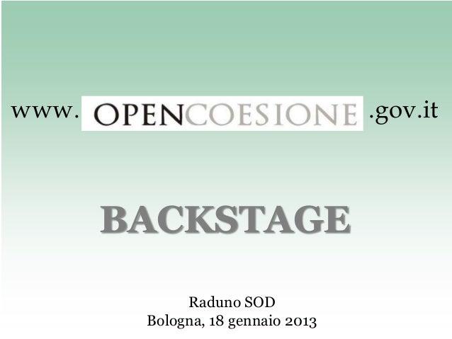 www.                               .gov.it       BACKSTAGE             Raduno SOD        Bologna, 18 gennaio 2013