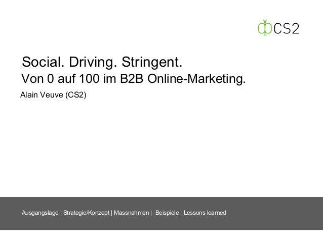Social. Driving. Stringent. Alain Veuve (CS2) Ausgangslage   Strategie/Konzept   Massnahmen   Beispiele   Lessons learned ...