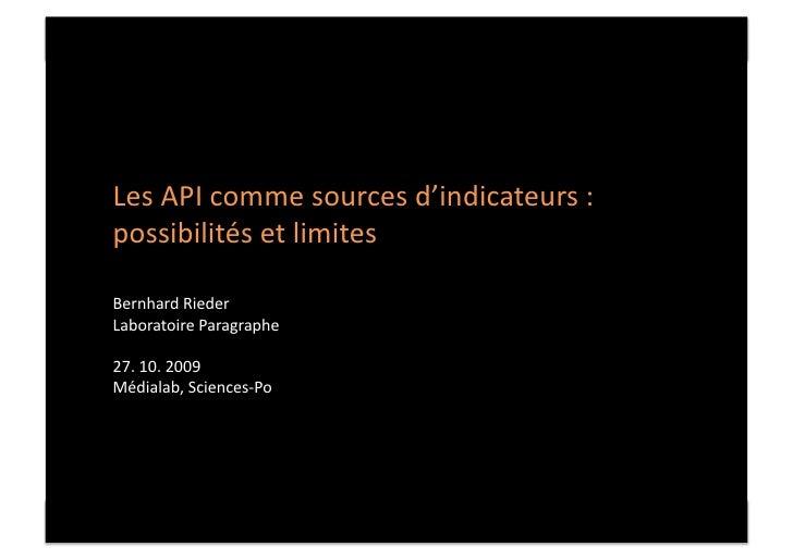 Les  API  comme  sources  d'indicateurs  :  possibilités  et  limites       Les  API  comme  sourc...