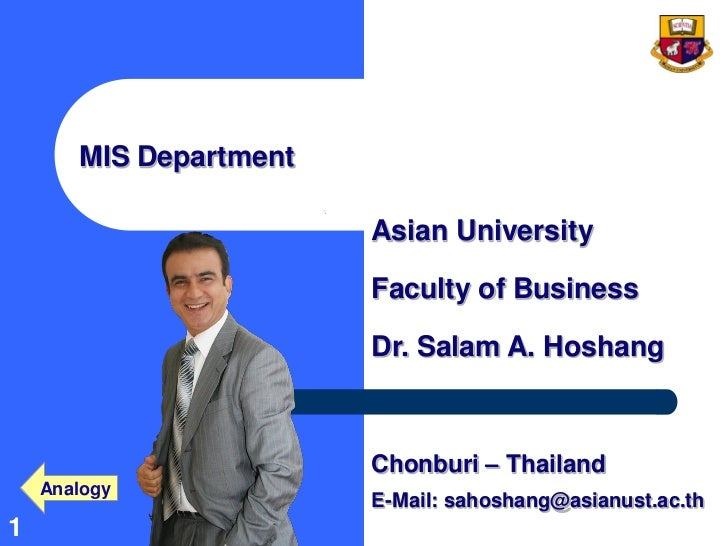 MIS Department                        Asian University                        Faculty of Business                        D...