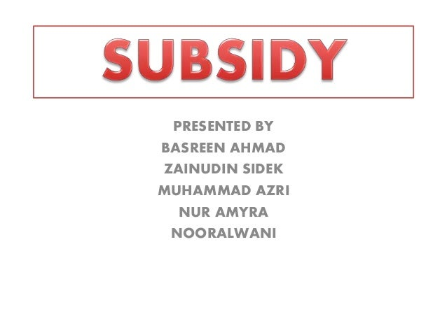 Subsidy in Malaysia