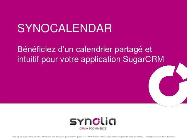 SynoCalendar, calendrier web 2.0 pour SugarCRM