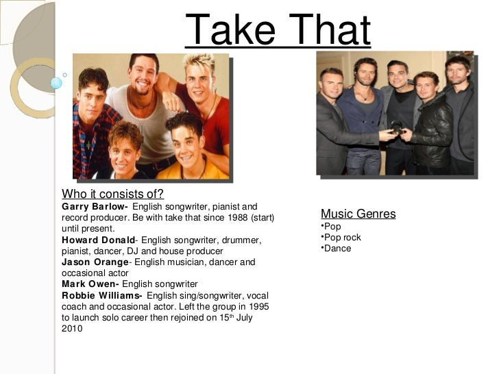 Take That Who it consists of? Garry Barlow-  English songwriter, pianist and record producer. Be with take that since 1988...