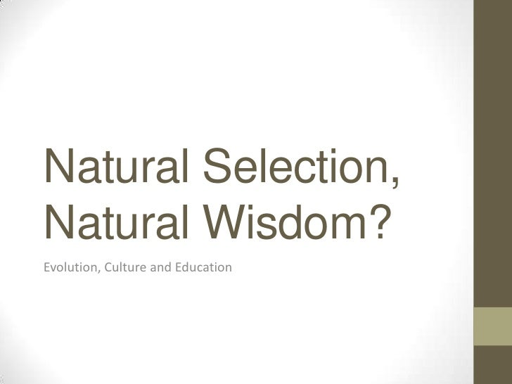 Natural Selection,Natural Wisdom?Evolution, Culture and Education