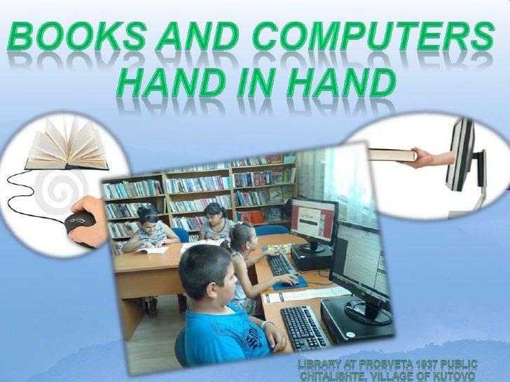 Books and Computers Hand in Hand