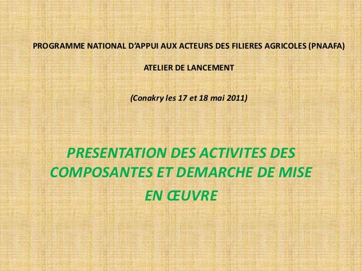 PROGRAMME NATIONAL D'APPUI AUX ACTEURS DES FILIERES AGRICOLES (PNAAFA) ATELIER DE LANCEMENT(Conakry les 17 et 18 mai 2011)...