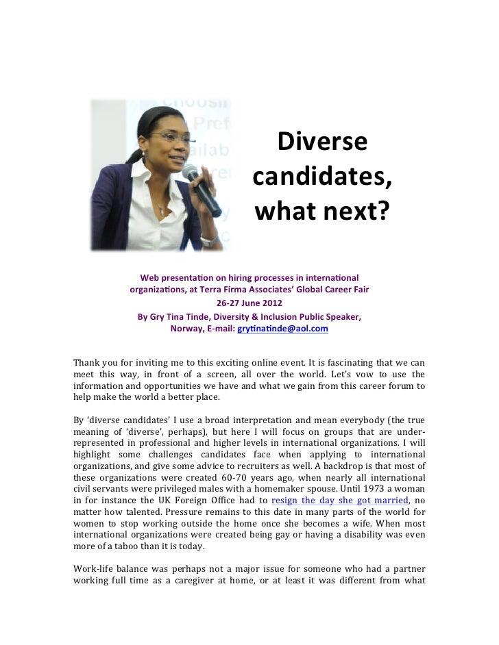 Diversity Candidates, What Next? Working in an International Organization