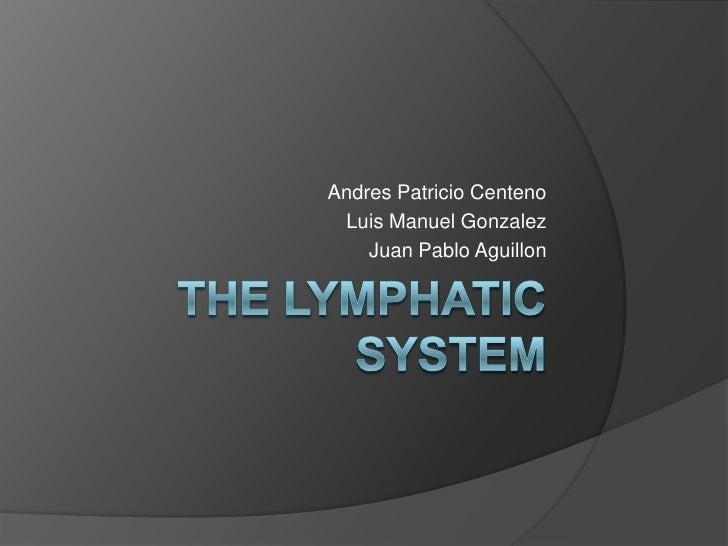 The Lymphatic system<br />Andres Patricio Centeno<br />Luis Manuel Gonzalez<br />Juan Pablo Aguillon<br />