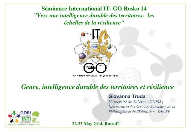 Giovanna Truda Université de Salerne (UNISA) Département des Sciences humaines, de la Philosophie et de l'Education - DIsu...