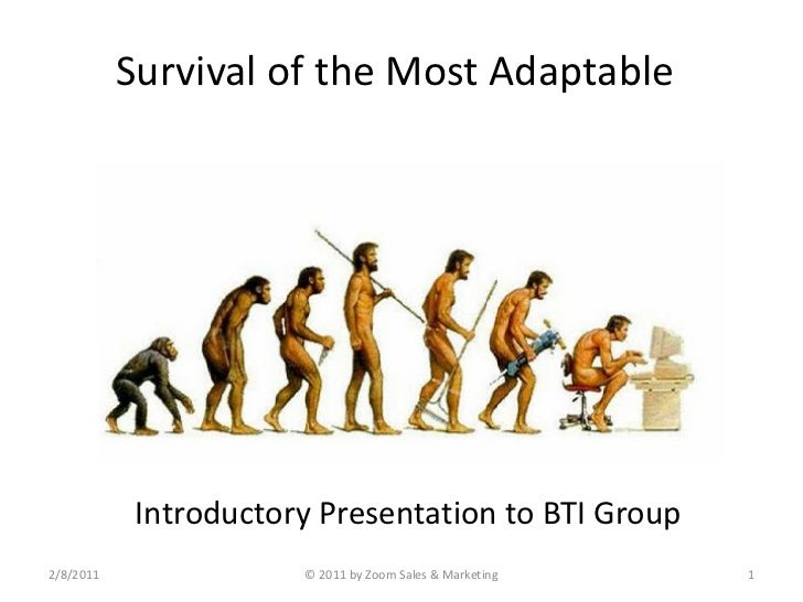 Survival of the Most Adaptable            Introductory Presentation to BTI Group2/8/2011               © 2011 by Zoom Sale...