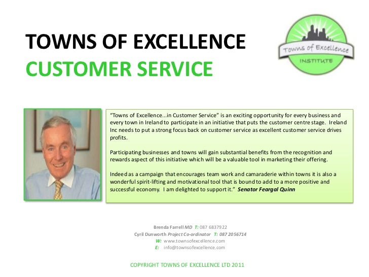 """TOWNS OF EXCELLENCE CUSTOMER SERVICE<br />""""Towns of Excellence...in Customer Service"""" is an exciting opportunity for every..."""