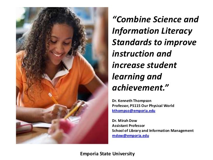 """Combine Science and              Information Literacy              Standards to improve              instruction and     ..."