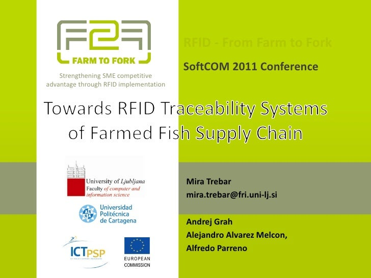 RFID from Farm to Fork 15 September 2011 SoftCOM, Croatia