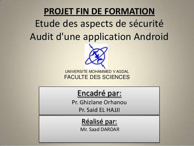 Etude des aspects de sécurité Android & Audit d'une application Android
