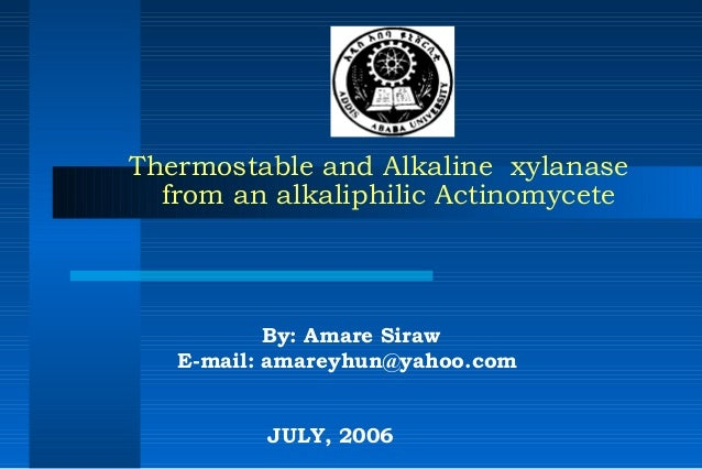 Thermostable and Alkaline xylanasefrom an alkaliphilic ActinomyceteBy: Amare SirawE-mail: amareyhun@yahoo.com  JULY, 2006