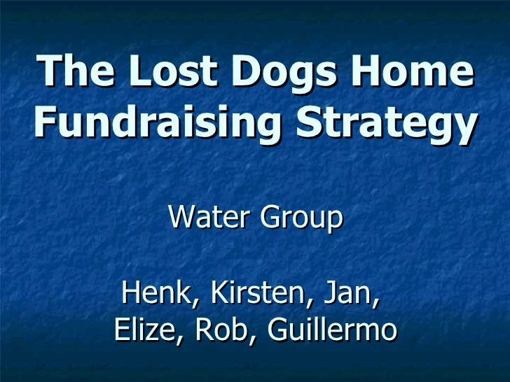 The Lost Dogs Home Fundraising Strategy Water Group Henk, Kirsten, Jan,  Elize, Rob, Guillermo
