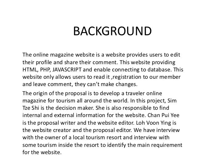 BACKGROUND<br />The online magazine website is a website provides users to edit their profile and share their comment. Thi...