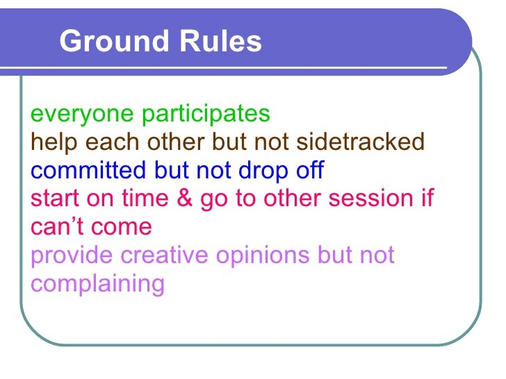 Ground Rules  everyone participates help each other but not sidetracked committed but not drop off start on time & go to o...