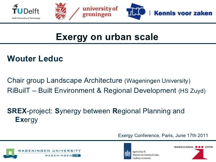 Exergy on urban scale - Exergy conference Paris