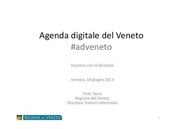 Agenda digitale del Veneto#advenetoIncontro con le DirezioniVenezia, 18 giugno 2013Elvio TassoRegione del VenetoDirezione ...