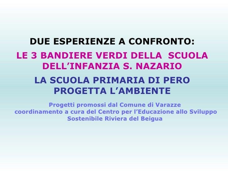 DUE ESPERIENZE A CONFRONTO: LE 3 BANDIERE VERDI DELLA SCUOLA DELL'INFANZIA S. NAZARIO LA SCUOLA PRIMARIA DI PERO PROGETTA...
