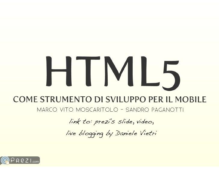 HTML5 come strumento di sviluppo mobile