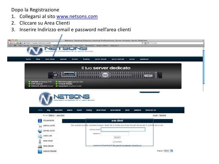 Dopo la Registrazione<br />Collegarsi al sitowww.netsons.com<br />Cliccaresu Area Clienti<br />InserireIndirizzo email e p...