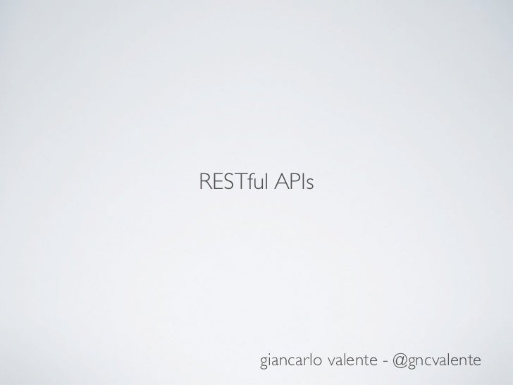 RESTful APIs (ITA) - /w WebMachine