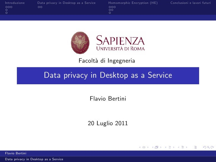 Data privacy in Desktop as a Service